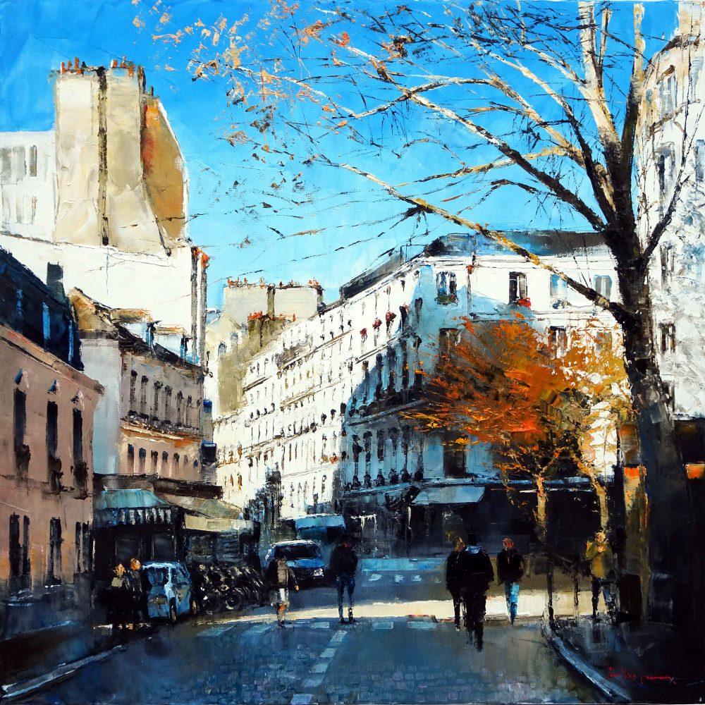 Paris aux Abesses sous le soleil de décembre 80x80