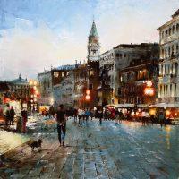 Les soirs des quais de Venise 80×80 cms