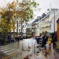 Paris aux Abbesses un jour de pluie 90×90 cms