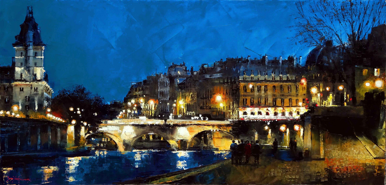 Quand Paris s'illumine 120x60 cms
