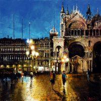 Venise à l'orée de la nuit  80×80 cms