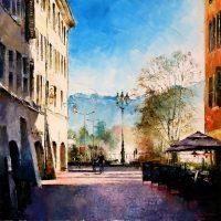 Annecy, les lumières du matin rue Royale 80×80 cms