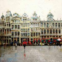 Pluie et reflets Grand Place de Bruxelles  100×100 cms
