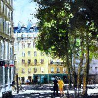 A l'ombre des places de Montmartre  92×65 cms