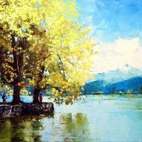 L'automne des rives du lac à Annecy le Vieux 120×60 cms