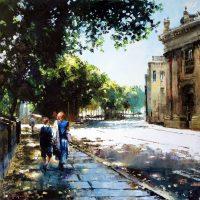Paris, les promeneurs du quai de Conti 80×80 cms