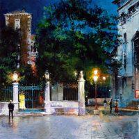 Les grilles du soir de Venise 80x80cms