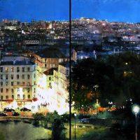 Du Sacré Coeur, quand Paris s'ouvre à la nuit (diptyque 160×80 cms)