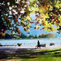 Annecy, les automnes du lac 100×73 cms