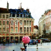 Lille en pluie, rue de la Bourse 92×65 cms
