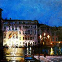 Quand tombe la nuit sur les palais de Venise 100×100 cms