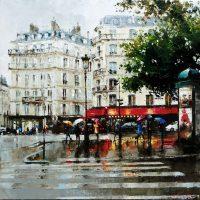 Boulevard de Paris sous la pluie   80×80 cms