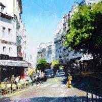 Les terrasses de la rue des Abbesses à Montmartre   92×65 cms
