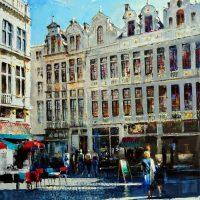 Bruxelles, Grand Place aux beaux jours  100×73 cms
