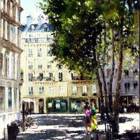 Sous le soleil d'aout à Paris, aux Abbesses 92×73 cms